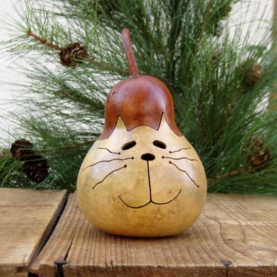 Cat Gourd Natural Kitty Centerpiece Decoration (with removable lid)
