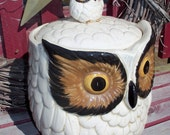 Large RETRO Vintage Ceramic Glass Owl Cookie Jar or Storage Jar with Original OMC Sticker