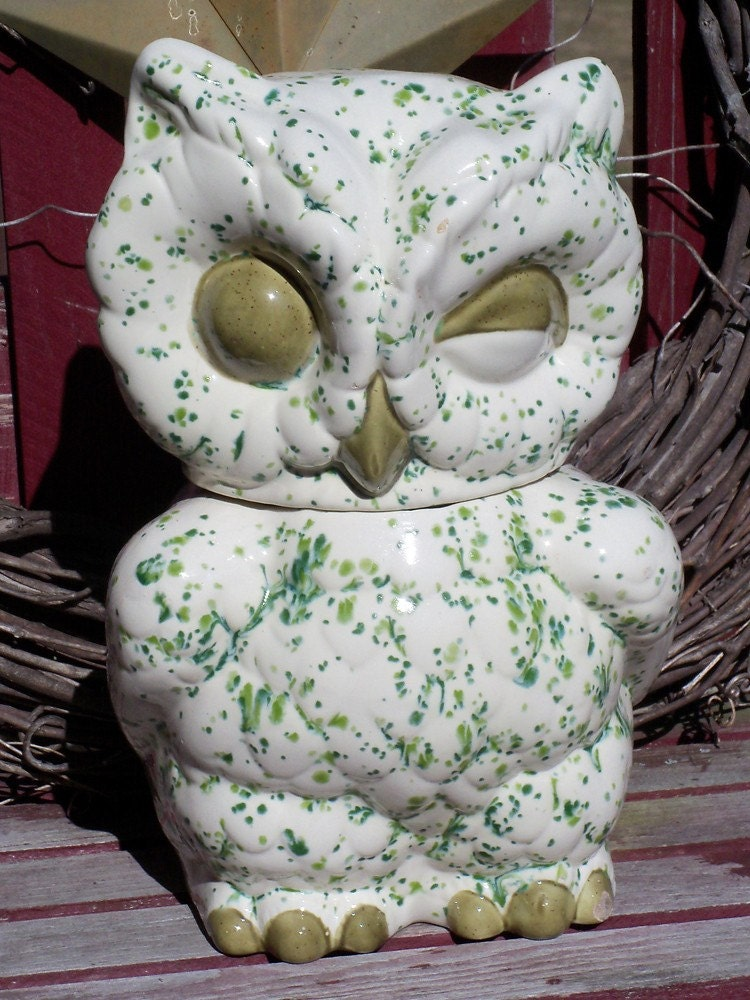 Large Retro Vintage Winking Ceramic Glass Owl Cookie Jar Or