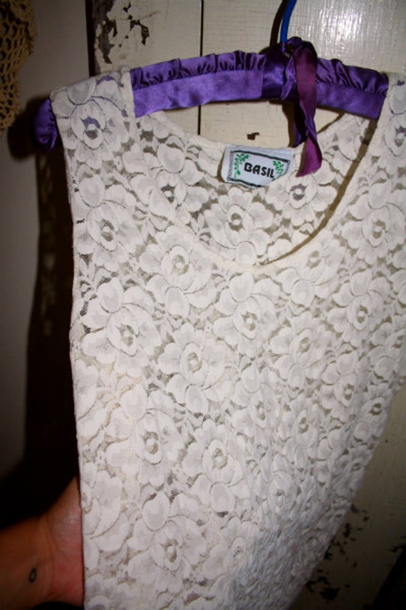 SALE ITEM Vintage Cream Lace Floral Tanktop