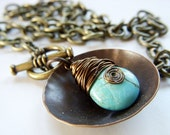 Turquoise Necklace Wire Wrapped Briolette on Antique Brass Necklace -Toggle Necklace Hand Hammered Metal
