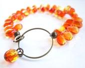 For Amalia : Fire Opal Orange Bracelet, Czech Briolette Bracelet, Molten Lava, Orange Jewelry