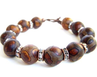 African Jewelry Tribal Style Brown Beaded Toggle Bracelet Giraffe Animal Print Tibetan Dzi Beads Easy On Easy Off