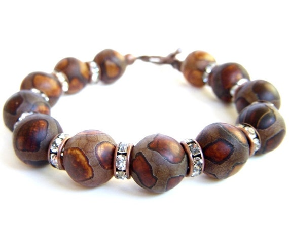 African Tribal Bracelet, Animal Print Bracelet, African Jewelry, Beaded Brown Bracelet, Giraffe Print Bracelet