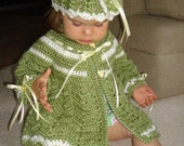 Boutique Crocheted Girls 2 pc Coat & Hat
