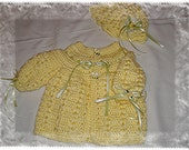 Boutique Crocheted Baby Girl 2 pcs outfit layette Sweater Set