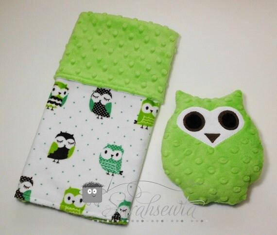 Teal/Brown Lime Green Minky Owl Lovie Gift Set