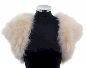 HOLLYWOOD VINTAGE GLAMOUR - Marabou Feather Shrug Wrap Stole Bolero Jacket - Cream/Champagne - Plus sizes available
