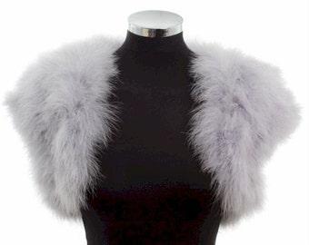 HOLLYWOOD VINTAGE GLAMOUR - Marabou Feather Shrug / Wrap / Stole / Bolero / Jacket - Silver Grey - Plus sizes available