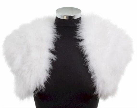 HOLLYWOOD VINTAGE GLAMOUR - Marabou Feather Shrug Wrap Stole Bolero Jacket - White - Plus sizes available