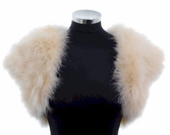 HOLLYWOOD VINTAGE GLAMOUR - Marabou Feather Shrug Wrap Stole Bolero Jacket - Cream/Champagne - Plus sizes available