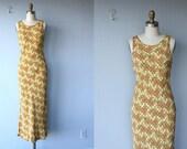 vintage dress /  floral tank dress / maxi dress / 1980s Betsey Johnson dress
