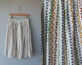 novelty print skirt  / midi skirt / 80s cotton skirt / 1980s fruit print skirt