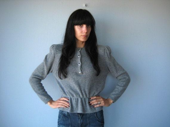 wool peplum sweater // St. John sweater  //  gray cashmere wool sweater