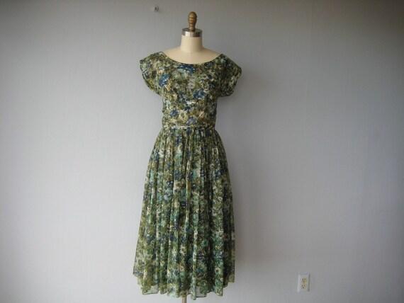 1950s vintage PAINTED FLORAL party dress