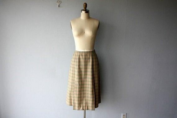 LAST CALL SALE / midi skirt / 1960s skirt / 60s skirt / plaid wool gabardine skirt - size large