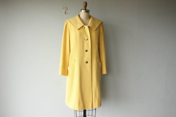 RESERVED / vintage 60s coat / 60s yellow coat / 60s wool coat / sailor collar coat /  60s Joseph Magnin coat