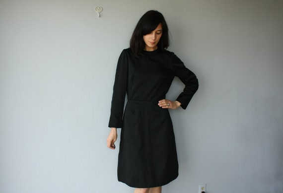 1960s black dress / 60s dress // I. Magnin dress - size large