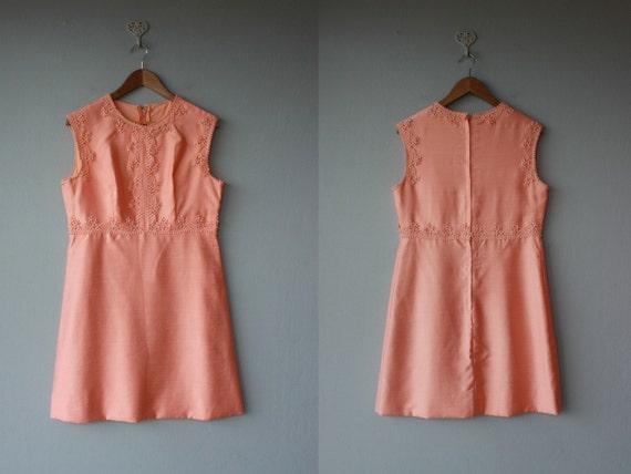 1960s dress / 60s dress / party dress / Coral Pearl silk dress - size medium , large