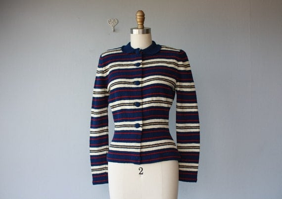 MEMORIAL DAY SALE / 40s sweater / 1940s sweater / Striped Alraune sweater - size small