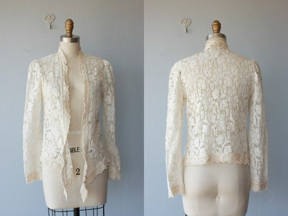 70s lace cardigan / open cardigan / 1970s cotton lace sweater / Gunne Sax cardigan - size small ,medium