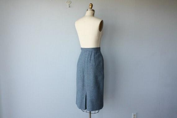 1950s pencil skirt / 50s skirt /  wool skirt / blue skirt - size small
