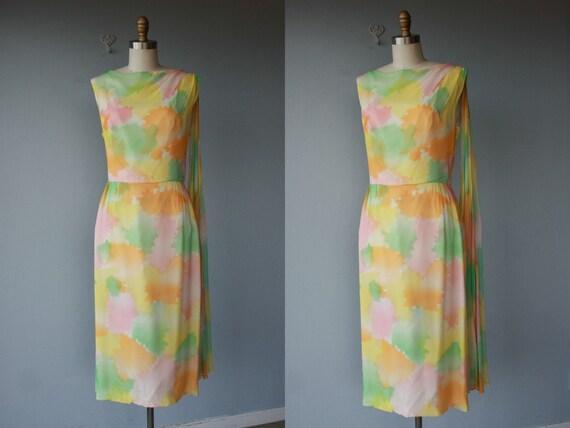 1950s dress / 50s dress / chiffon cocktail dress / pastel sheath dress - size medium ,  large