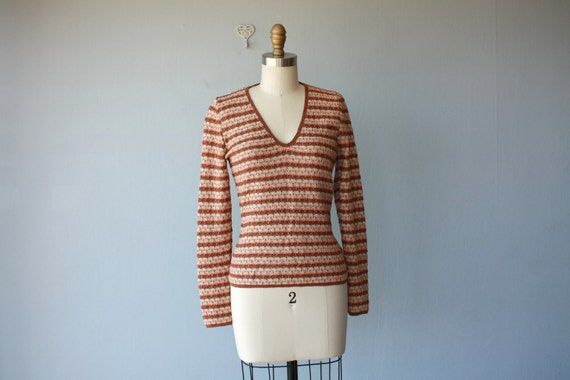 1970s sweater / 70s striped sweater / earth tone / metallic pointelle sweater - size small