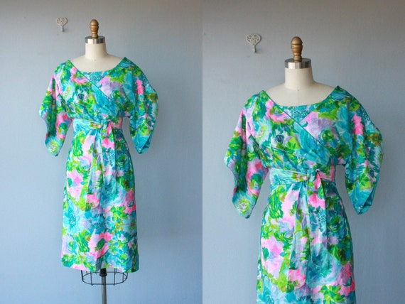1960s cocktail dress / 60s party dress / Water Lily dress - size medium , large
