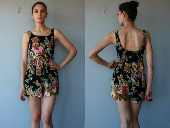 floral romper / floral playsuit / tap shorts / Betsey Johnson romper - size small