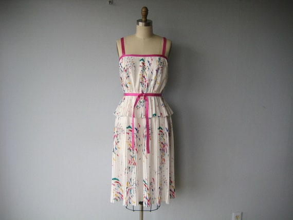 70s dress / 1970s dress / peplum waist dress / spaghetti strap pleated dress - size small