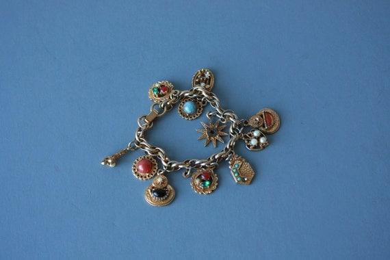 charm bracelet / 1960s charm bracelet / 60s goldtone bracelet / costume jewlery