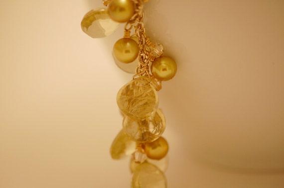 citrine, swarovski crystal & fresh water pearl necklace