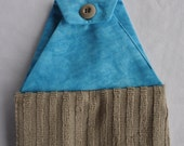 Brown Hanging Hand Towel with Buttoned Blue Cotton Top