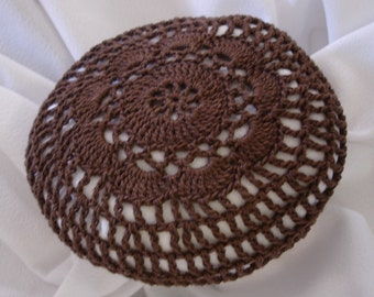 Brown Hair Net / Bun Cover Sz Medium Crocheted Flower Style Amish Mennonite