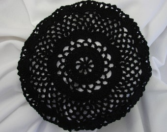 Black Hair Net / Bun Cover Sz Large Crocheted Flower Style Amish Mennonite