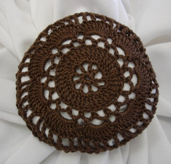 Crochet Hair Net Bun Cover Pattern : Crocheted Brown Hair Net / Bun Cover Flower Style by mydesertdeals