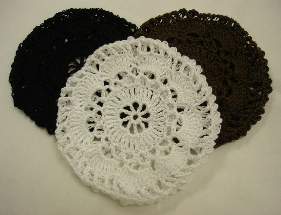 Crochet Hair Net Bun Cover Pattern : Hair Net / Bun Cover Flower Style Crocheted Black Brown White Set of 3