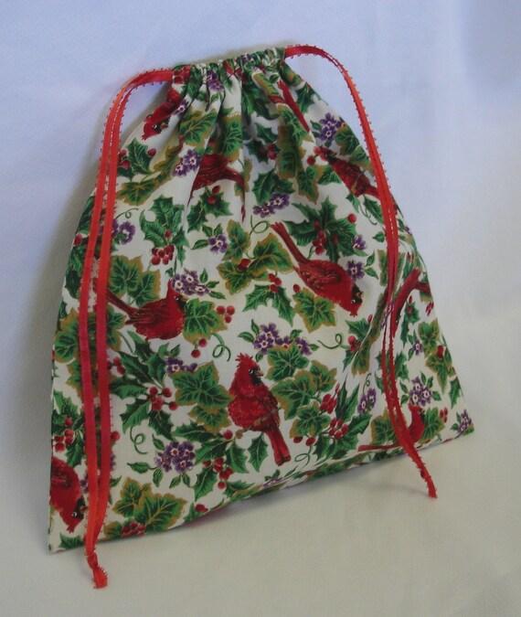 """Christmas Cloth Gift Bag Reusable Red Cardinal Gift Wrap 10.5x10.5"""""""