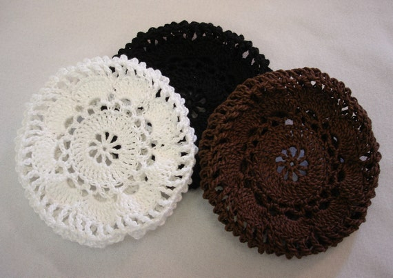 Crochet Hair Bun Cover : Hair Net / Bun Cover Flower Style Crocheted Black Brown White Set of 3