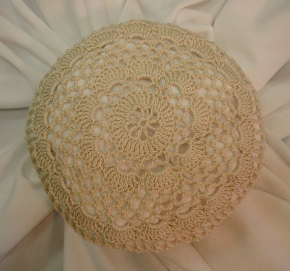 Crochet Hair Cover : Hair Net / Bun Cover Sz Large Natural Crocheted Flower Style Amish ...
