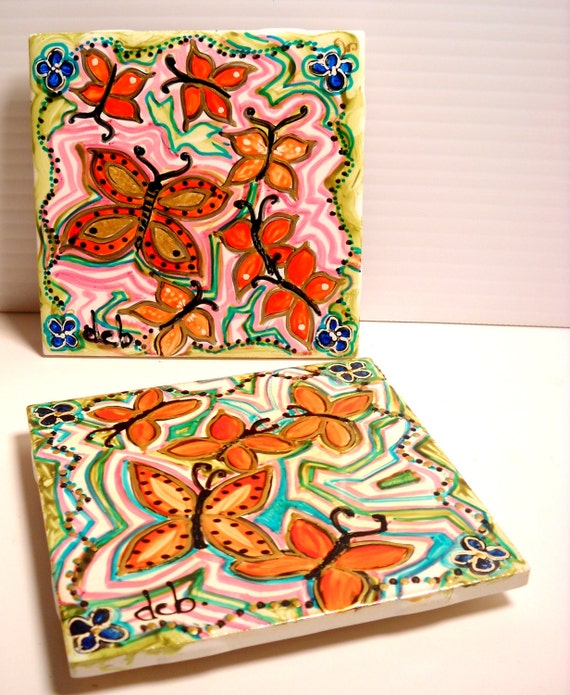 Hand Painted Kitchen Tiles: Items Similar To Ceramic Tile Hand Painted Butterfly