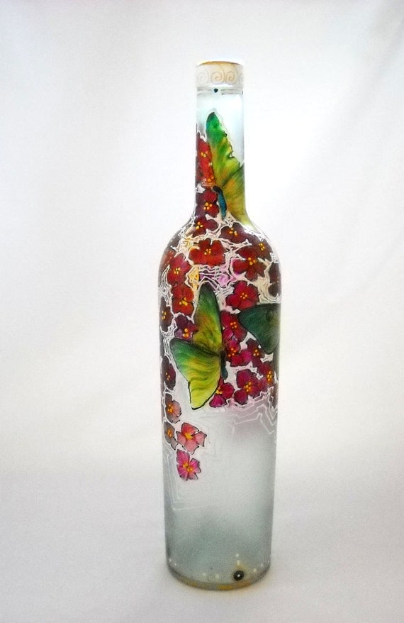 Butterfly Art on Glass Hand Painted Bottle Glass Decor Autumn Colors