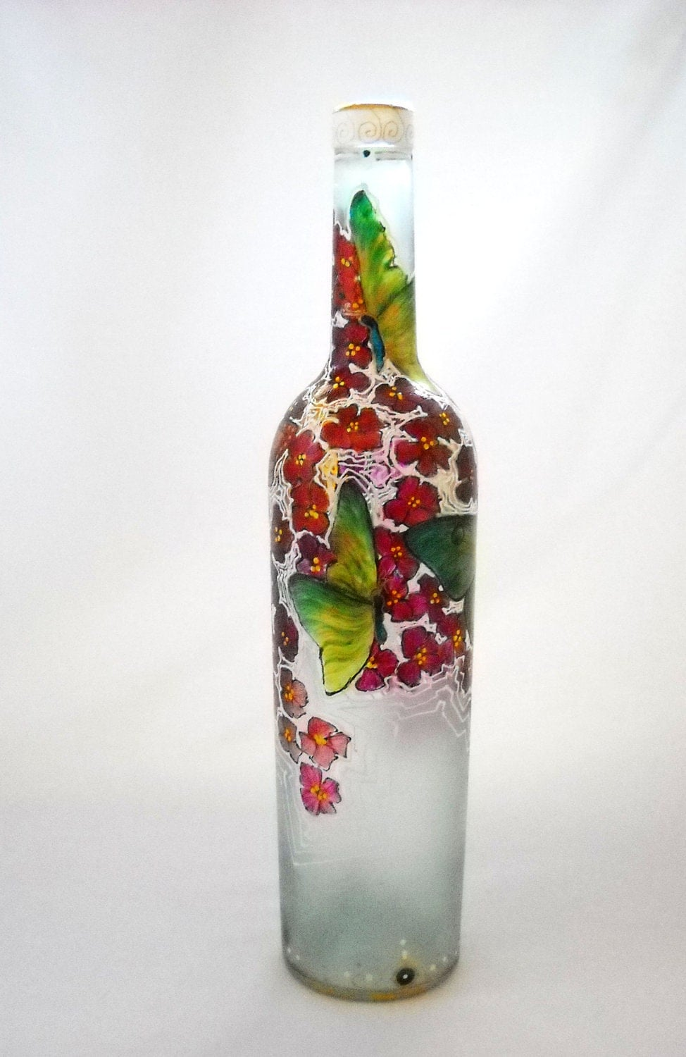 Butterfly art on glass hand painted bottle glass decor autumn for Hand painted bottles