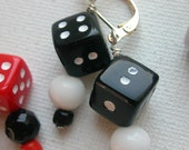 Roll The Dice Earrings-Red-White or Black