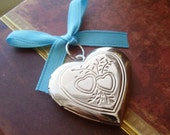 Something Blue Bouquet Memorial Locket Charm - Silver Double Heart Locket - Fits Two Photos - Includes Two Picture Printing Services