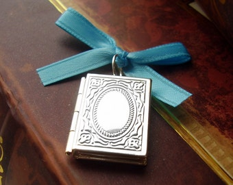 Memorial Locket Charm - Silver Book with Oval Opening - Includes Picture Printing Service