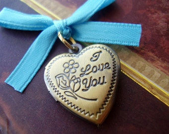 Bouquet Locket Charm - Brass I Love You Heart - Includes Picture Printing Service