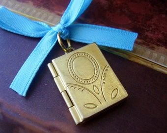 Memorial Locket Charm - Antique Style Brass Floral Book - Picture Printing Included