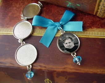 Round or Square Bouquet Photo Charm w/  Blue Czech Bead & Link-able Multiple Photo Option - Includes Picture Printing Service